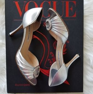 Manolo Blahnik Sedaraby Metallic Heels Size 38